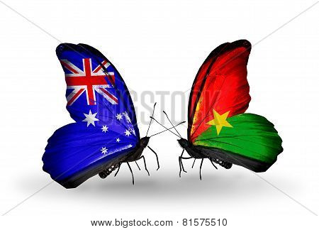 Two Butterflies With Flags On Wings As Symbol Of Relations Australia And Burkina Faso