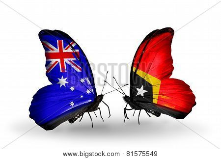 Two Butterflies With Flags On Wings As Symbol Of Relations Australia And East Timor