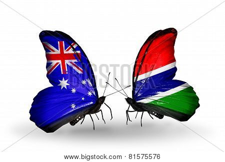 Two Butterflies With Flags On Wings As Symbol Of Relations Australia And Gambia