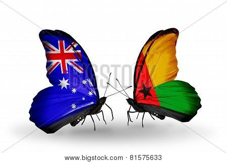 Two Butterflies With Flags On Wings As Symbol Of Relations Australia And Guinea Bissau