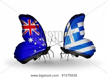 Two Butterflies With Flags On Wings As Symbol Of Relations Australia And Greece