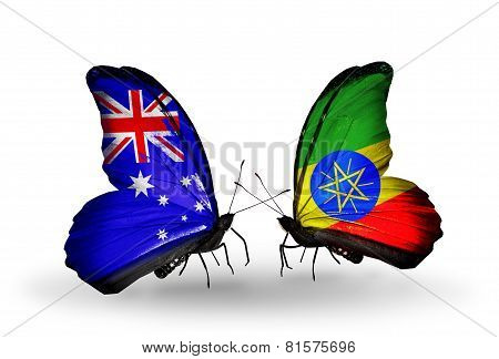 Two Butterflies With Flags On Wings As Symbol Of Relations Australia And Ethiopia