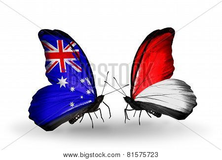Two Butterflies With Flags On Wings As Symbol Of Relations Australia And Monaco, Indonesia