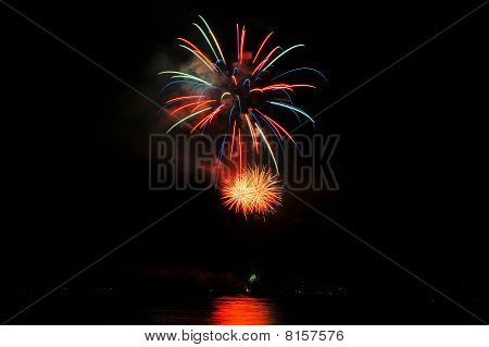 Red And Green Fireworks
