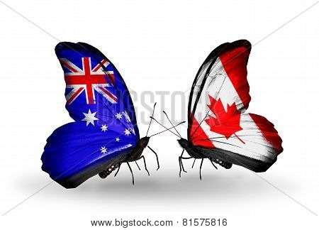 Two Butterflies With Flags On Wings As Symbol Of Relations Australia And Canada