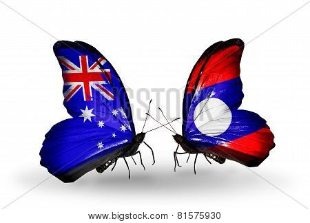 Two Butterflies With Flags On Wings As Symbol Of Relations Australia And Laos