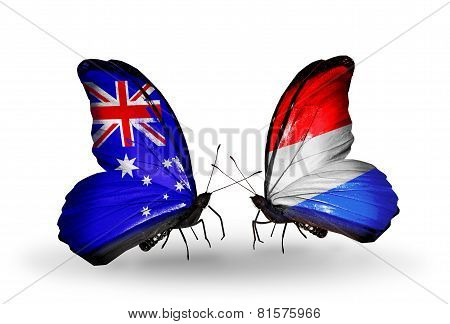 Two Butterflies With Flags On Wings As Symbol Of Relations Australia And Luxembourg