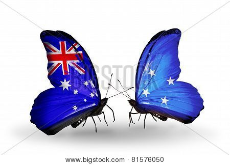 Two Butterflies With Flags On Wings As Symbol Of Relations Australia And Micronesia