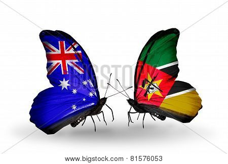 Two Butterflies With Flags On Wings As Symbol Of Relations Australia And Mozambique