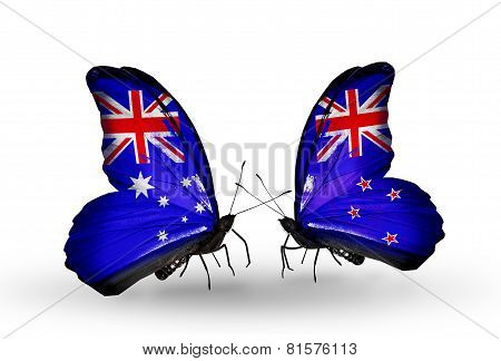 Two Butterflies With Flags On Wings As Symbol Of Relations Australia And New Zealand