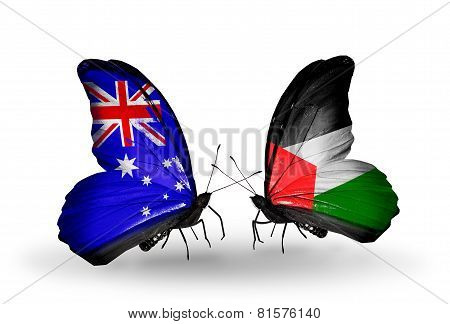 Two Butterflies With Flags On Wings As Symbol Of Relations Australia And Palestine
