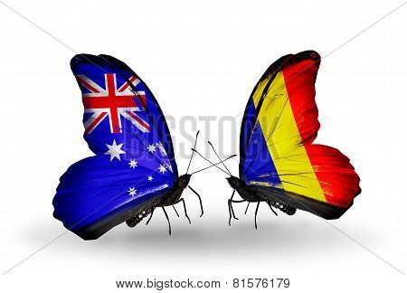 Two Butterflies With Flags On Wings As Symbol Of Relations Australia And Chad, Romania