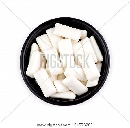 Bowl With Pieces Of Tasty White Chewing Gum