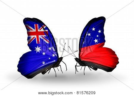 Two Butterflies With Flags On Wings As Symbol Of Relations Australia And Samoa