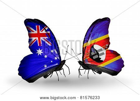 Two Butterflies With Flags On Wings As Symbol Of Relations Australia And Swaziland