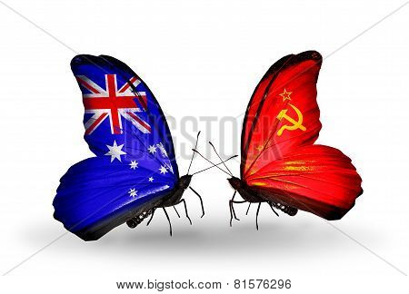 Two Butterflies With Flags On Wings As Symbol Of Relations Australia And Soviet Union