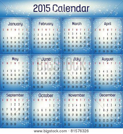 2015- Blue Color Calendar