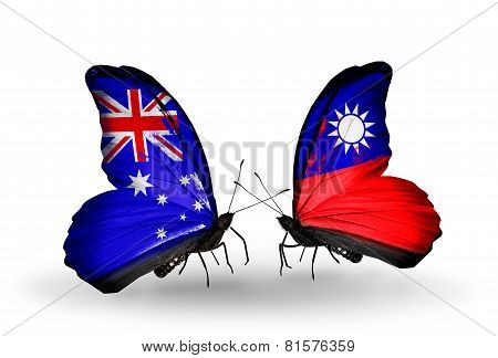 Two Butterflies With Flags On Wings As Symbol Of Relations Australia And Taiwan