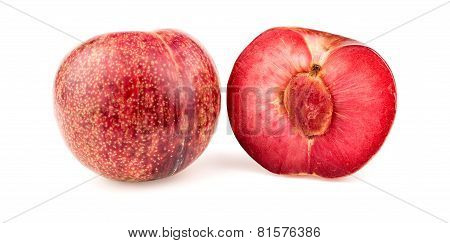 Pluot Apricot Plum Fruit Cut In Half With Seed