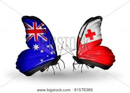 Two Butterflies With Flags On Wings As Symbol Of Relations Australia And Tonga