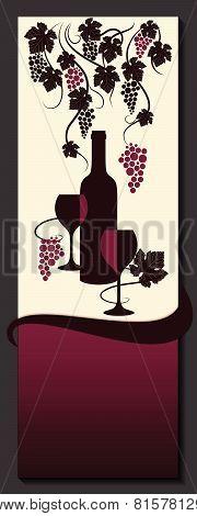 Wine list design. Vine abstract. Vector.