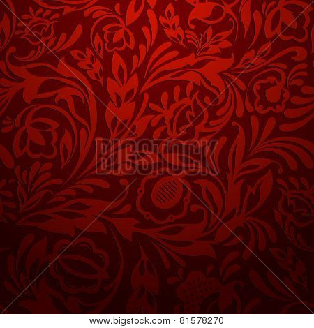 Red Abstract Floral Pattern
