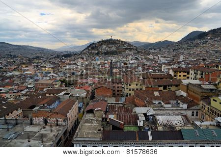 Panecillo hill over Quito's cityscape in Ecuador