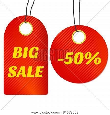Red sale tags or labels. Vector illustration.