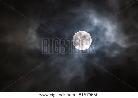 full moon with cloudy