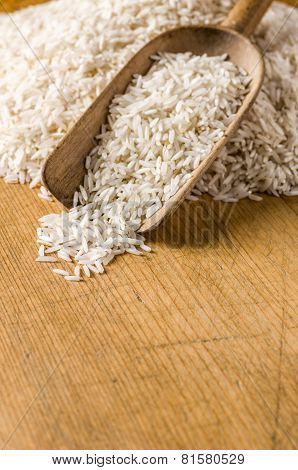Wooden background with copy space - Basmati rice