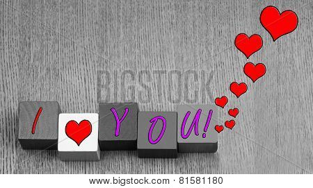 I Love You, Sign Or Art Design For Valentines Day.