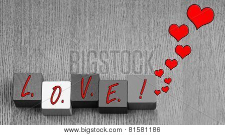 Love - Sign Or Design For Lovers, Romance And Valentine's Day.