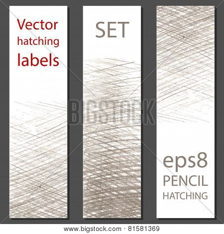 Set Of 3 Vector Labels With Pencil Hatching