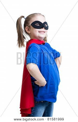kid girl dressed as superman or superhero