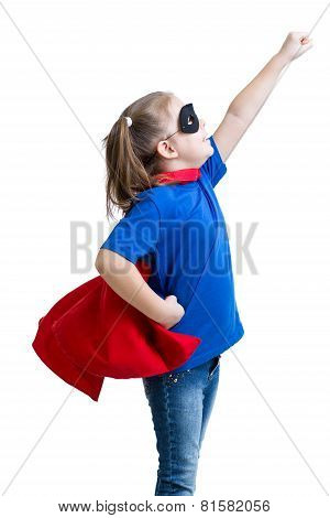kid girl plays superhero