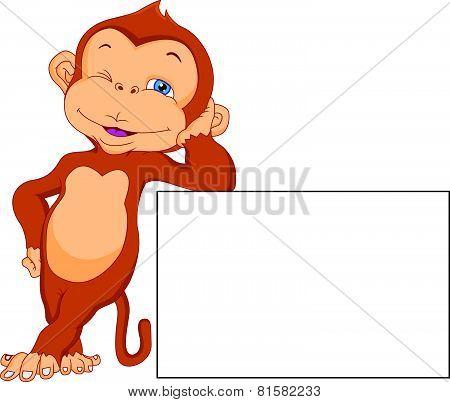 cute monkey cartoon with blank sign