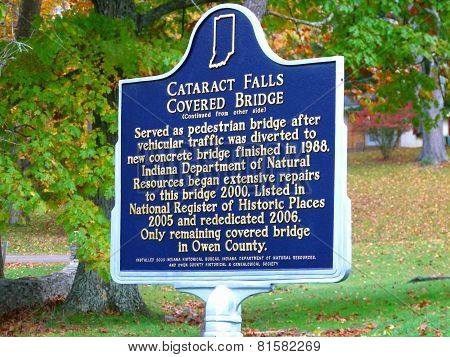 Cataract Falls Covered Bridge Sign