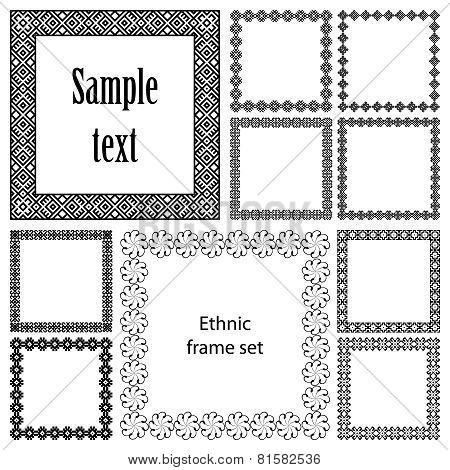 Collection set of ten square frames with ethnic borders
