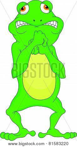 vector illustration of cute green frog cartoon