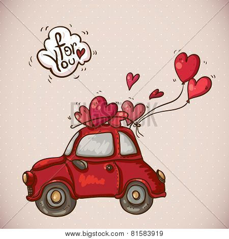 Doodle Card Valentines Day with Red Car