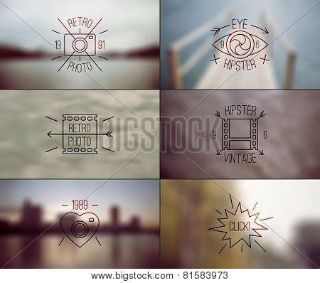 Set Of Hipster Badges And Blurred Backgrounds