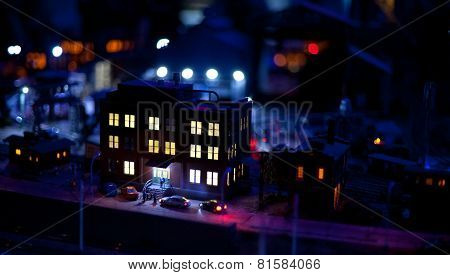 Night View Of House In Toy Town