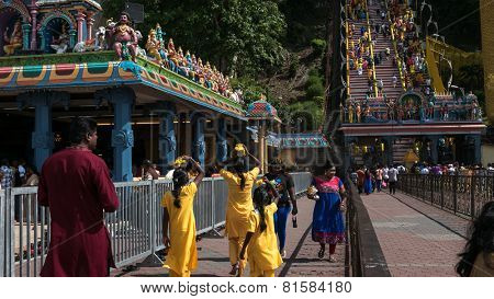 KUALA LUMPUR, MALAYSIA - JANUARY 31, 2015: Hindu devotees visit the Sri Mahamarriamman temple built inside a limestone cave. Hundreds of thousands of devotees gather here for the Thaipusam prayers.