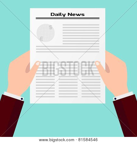 Businessman Holding A Daily Newspaper In Hands