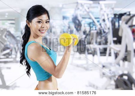 Fitness Girl With Dumbbells