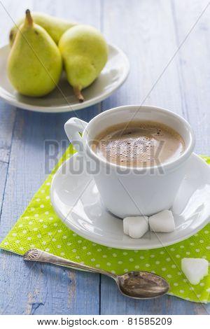 Coffee Cup Black Wooden Board Brown Pears White Milk