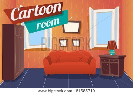 Cartoon Apartment Livingroom Interior House Room Retro Vintage Background Vector Illustration