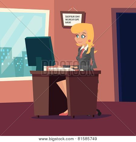 Businesswoman Character at desk working on computer Stylish Room Background Retro Cartoon Design Vec