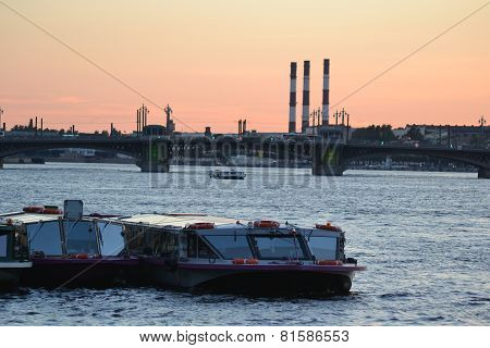 Pleasure Craft On The River Neva.