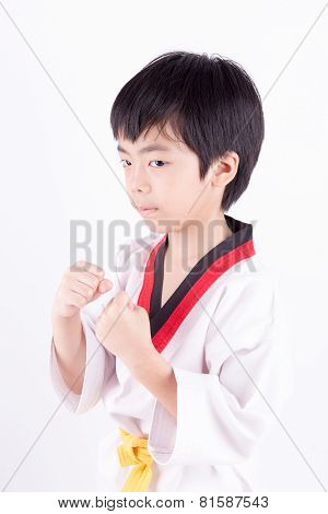 Little Boy In A Taekwondo Suit